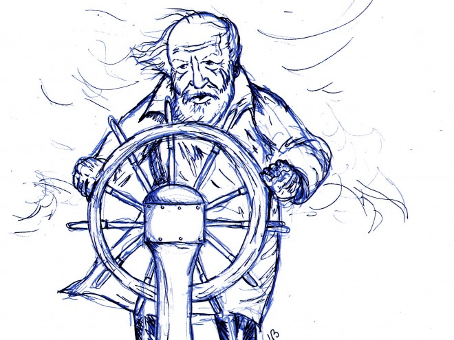 Sir William Golding drawing by Lasse Blond blue version