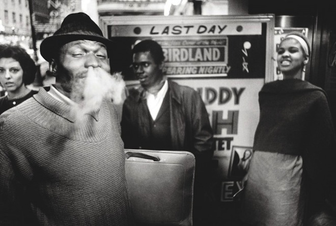 Drummer Elvin Jones outside Birdland, Manhatten New York City. Copyright: William Claxton.